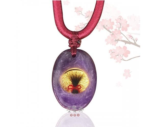 紫晶-胎毛項鍊