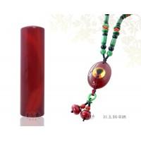 頂級紅玉髓5分臍帶章/胎毛章+紅玉瓍胎毛項鍊
